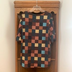 BomBom Sweaters - BomBom checkered sweater top short sleeves(no size